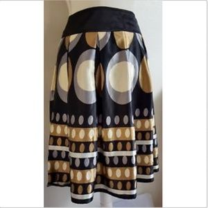 Romy Flared A-Line Skirt Gold Silver Geometric M